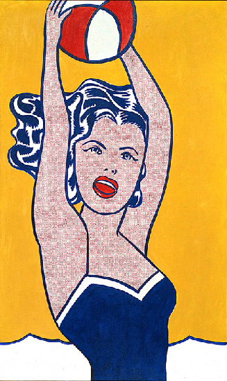 famous painting fille avec ball of Roy Lichtenstein
