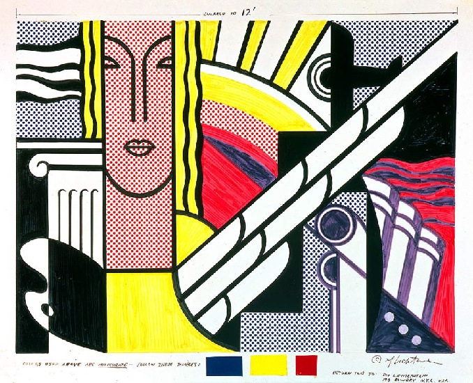 famous painting moderne tapisserie bande dessinée of Roy Lichtenstein