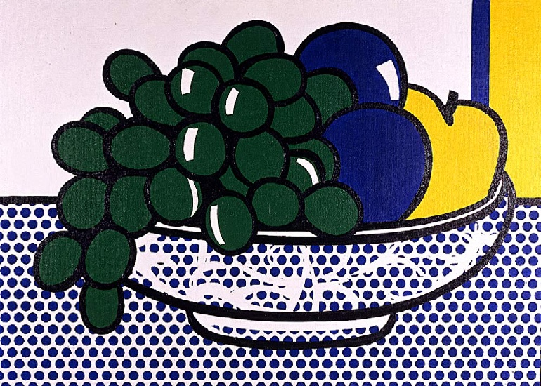 famous painting Nature morte aux prunes of Roy Lichtenstein