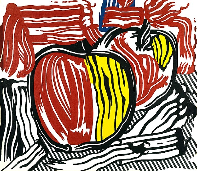 famous painting 2  rouge  et  jaunes  pommes  of Roy Lichtenstein