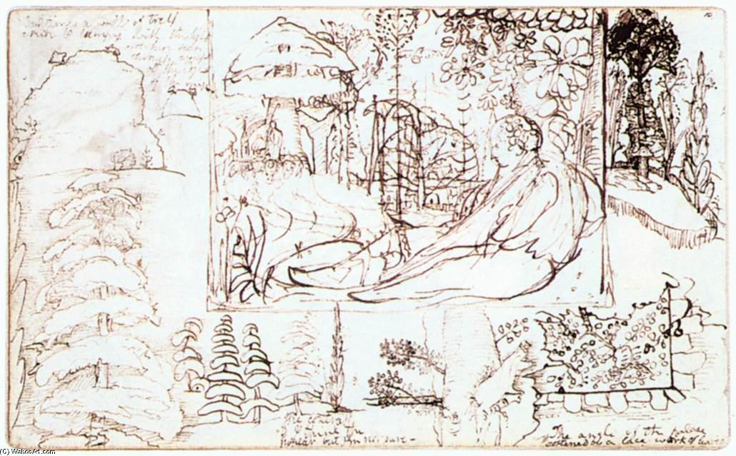 famous painting Sketchbook, folio 5 verso of Samuel Palmer