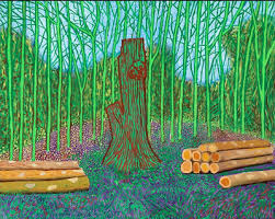famous painting arrangé abattu  arbres  of David Hockney