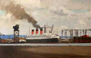 Norman Wilkinson - aménagement RMS 'Queen Mary' au Clydebank , 1936
