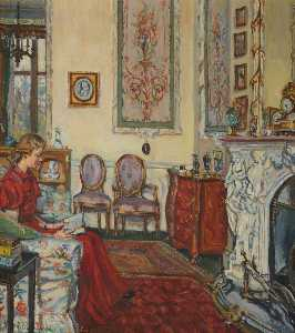 Marie Louise Roosevelt Pierrepont - le blanc dessin chambre Tapisserie Chambre , Thoresby Salle